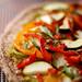 Raw Garlic Scape Pesto Veggie Pizza