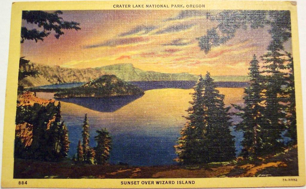 Vintage Postcard Wizard Island Crater Lake Oregon Flickr