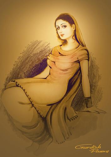 Young Punjabi Girl, Member Of Giddha Folk Dance Of Punjab -8628