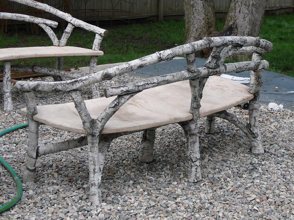 Faux Bois Cement : River birch faux bois concrete cement bench