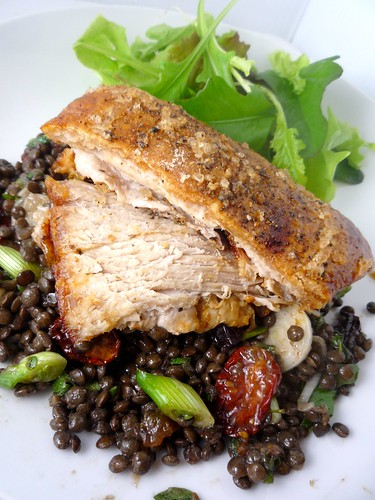 Slow Roasted Pork Belly with Lentils and Slow Roasted Tomato Salad | by Girl Interrupted Eating