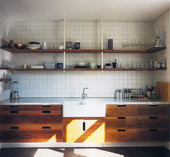 wood cabinets, white tile, black floor | by Anna @ D16