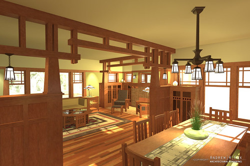Arts and crafts interior by foxrender for Arts and crafts style interiors
