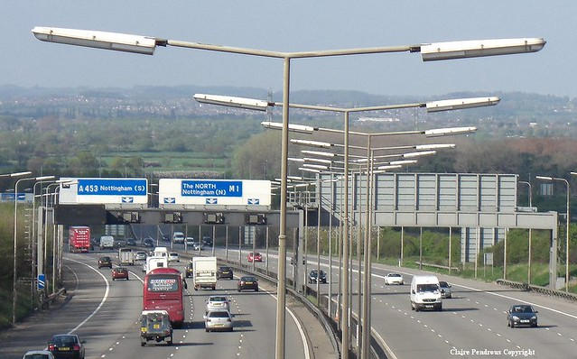 Sodium Lit Motorway M1 Motorway At Junction 24 Kegworth