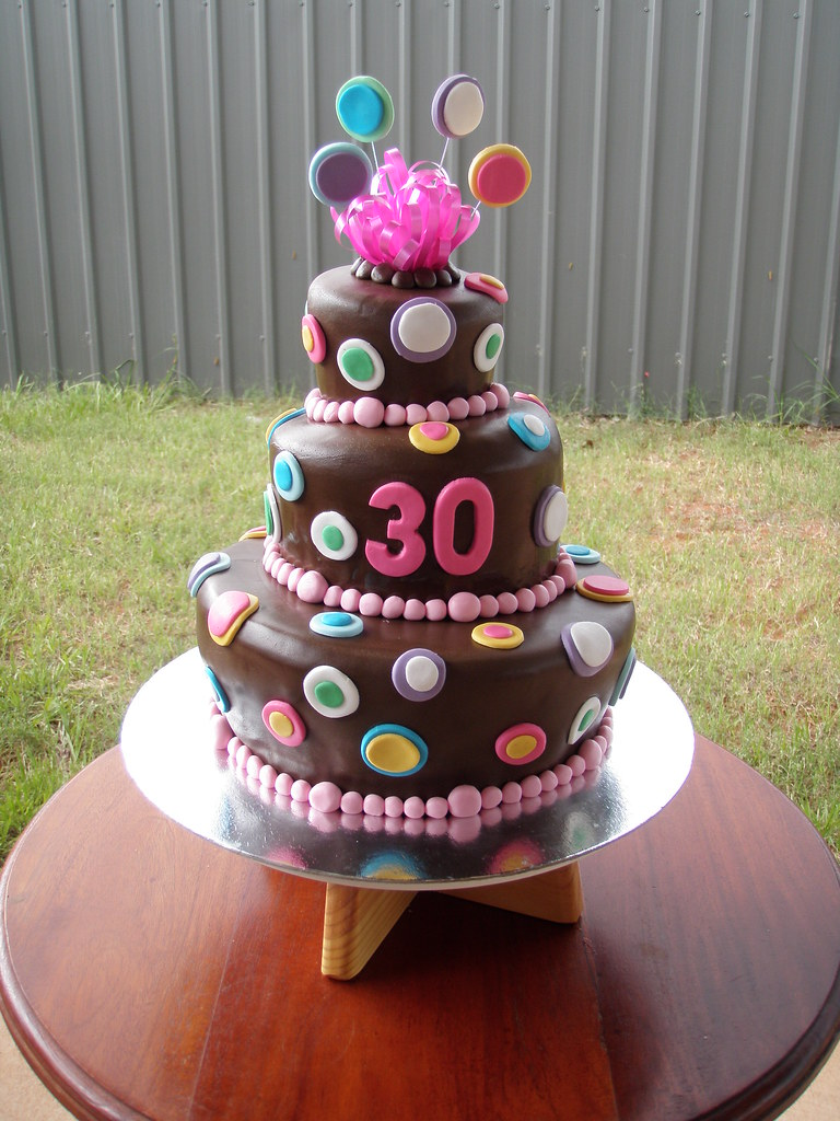 Mossy 39 s masterpiece 30th birthday 3 tier chocolate wonky c for 30 cake decoration