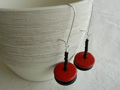 Black Red Earrings | by amoronia