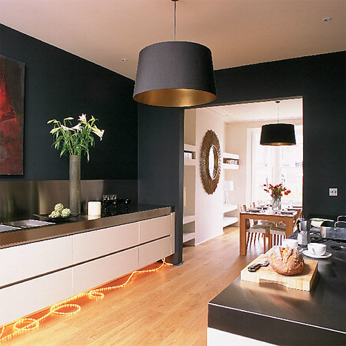 Modern black kitchen farrow ball 39 s 39 off black 39 walls for Gold wall paint uk