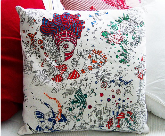 Handmade Throw Pillow Cover With Embroidery Hand Painted