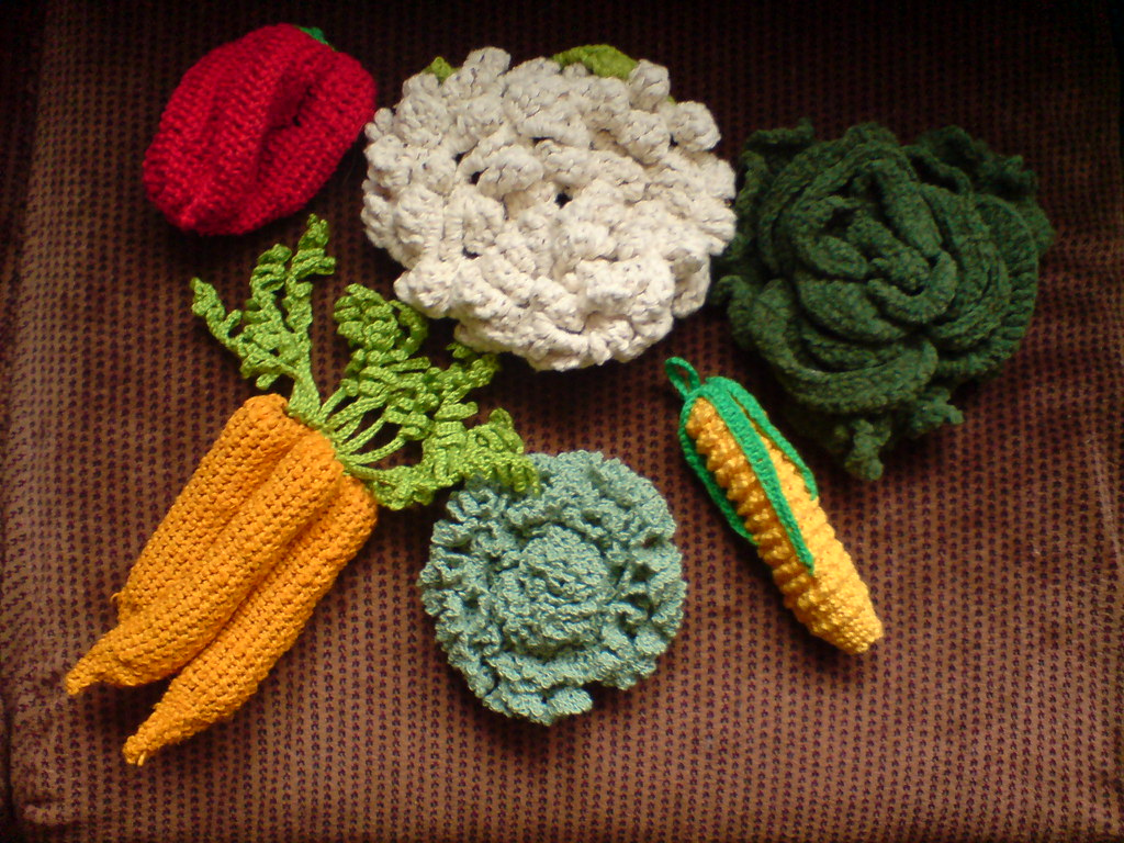 Crocheted Vegetables Crocheted Vegetable Pot Lid Holder