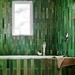 Green bathroom + Heath Ceramics subway tiles