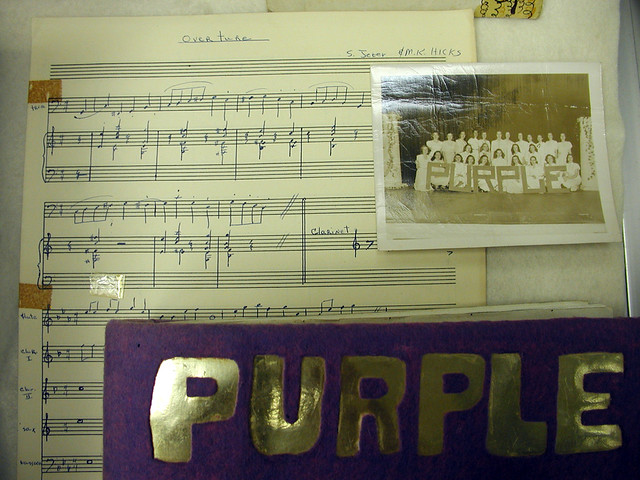 Exhibition Stand Night Sheet : Purple display sheet music detail college night