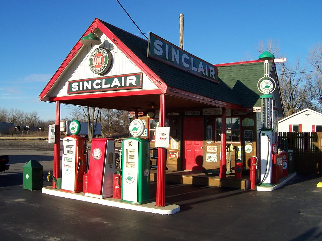 Vintage Sinclair Gas Station Full View Angle Of An