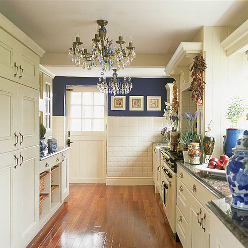 Kitchen Ideas Galley: Blue And White Kitchen