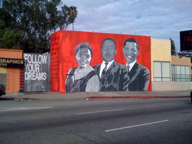 Mr brainwash rosa mlk obama for Mural by mr brainwash