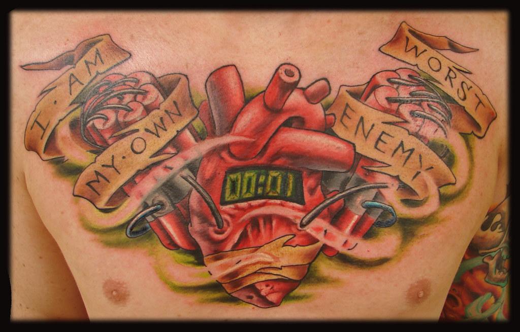 anatomical heart explosive banner tattoo nosurrenderstudios flickr. Black Bedroom Furniture Sets. Home Design Ideas