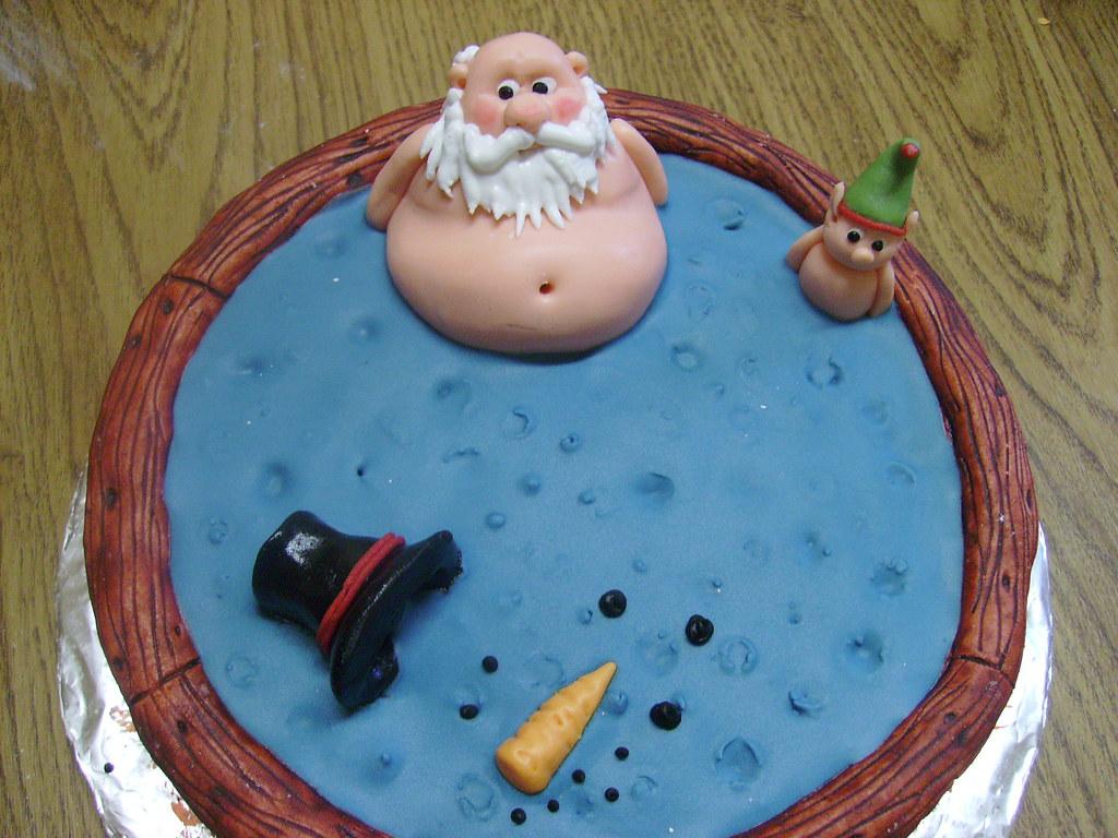 Christmas Cakes Santa Hot Tubs And Penguins Santa Hot
