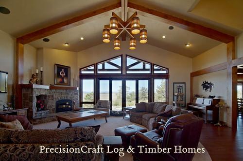 Timber Frame Home Great Room View Colorado Homes Preci