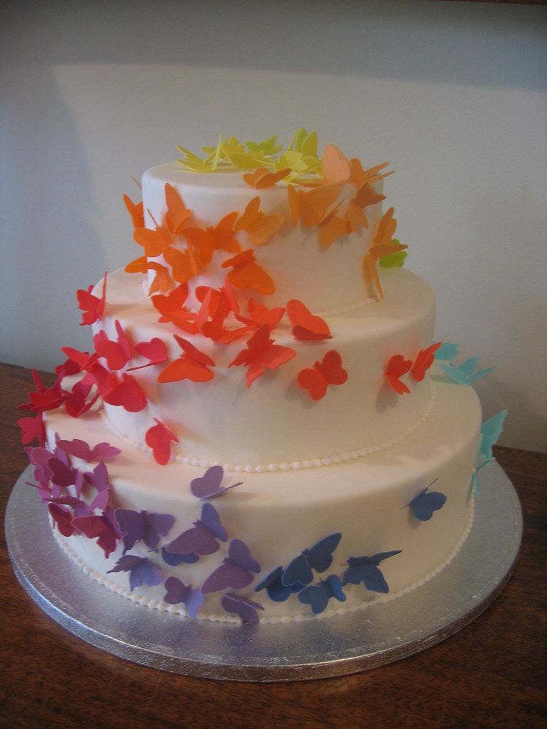 rainbow butterfly wedding cake 3 tier butterfly cake step into sring kajal karni bajaj 18957