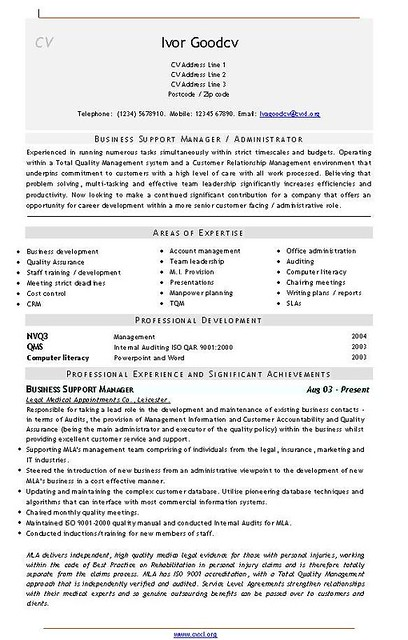medical administrator  business support manager  cv templa