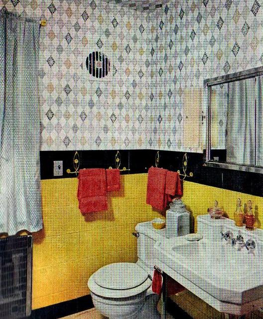 "Black White Yellow Bathroom: ""The American Home"" Magazine"