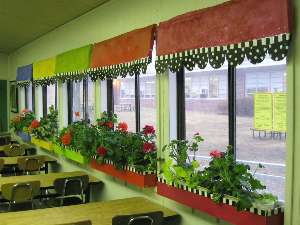 Art room windows i painted aluminum window screen for for Art room decoration school