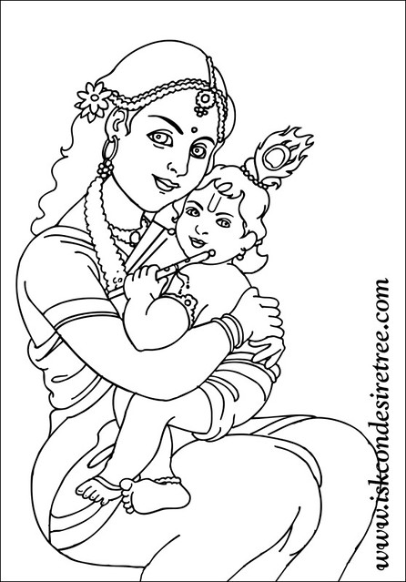 Colouring krishna poster iskcon desire tree 077 this for Coloring pages of krishna