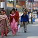 Pedestrians walk through Kathmandu