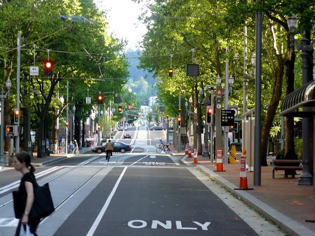 Portland Street View Pedestrians Bikes Trains And