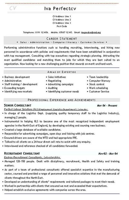 recruitment consultant cv template