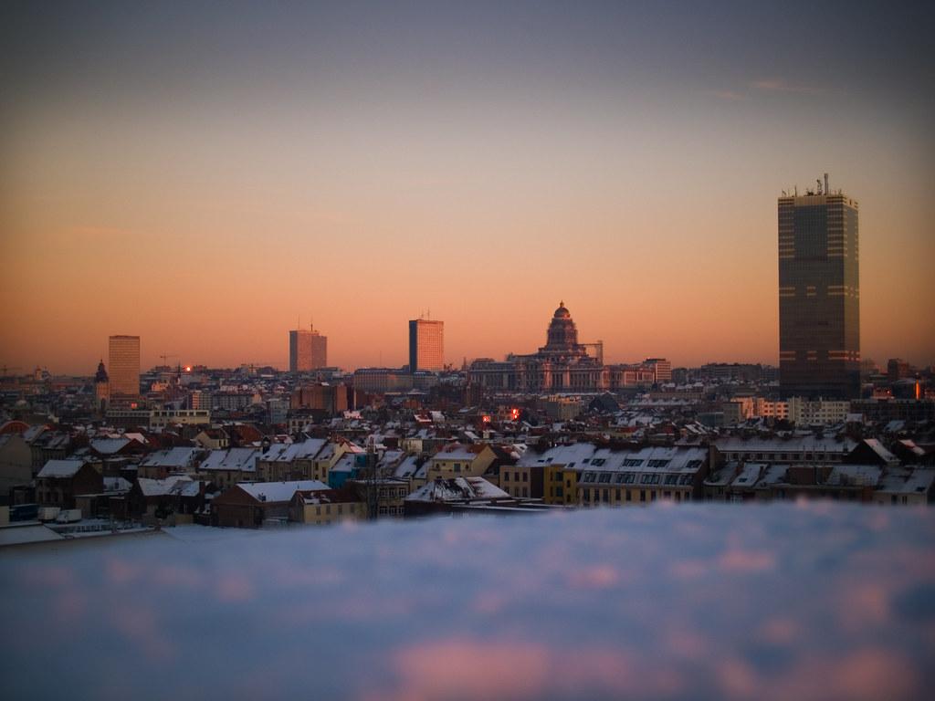 Skyline Brussel Bij Zonsondergang Foto Genomen Op 06 01