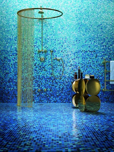 Blue Mosaic Tile Shading Blend Bisazza S Gladiolo Glass