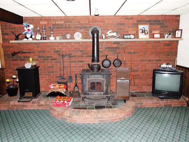 coal wood burning stove in finished basement flickr photo sharing