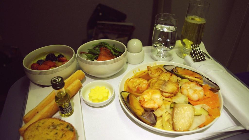 business class inflight meal