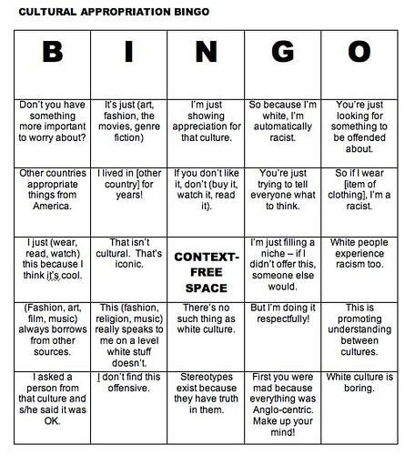 Cultural Appropriation Bingo