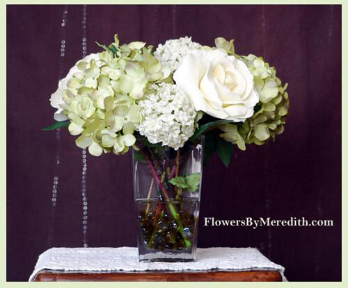 Silk flower arrangement roses hydrangea and snowballs