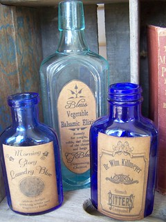 Vintage Blue Bottles with Nostalgic labels | by Out on a Whim Studio