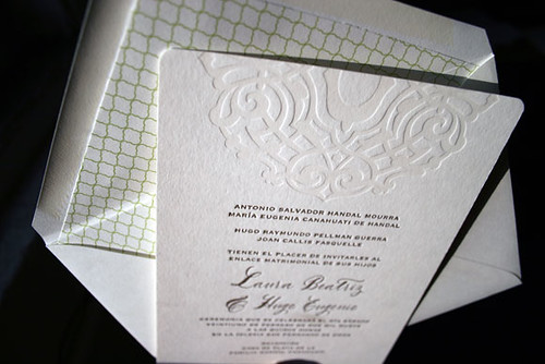 Lashar letterpress wedding invitations in Spanish