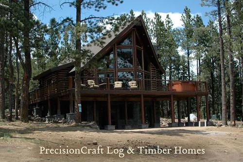 Log Cabin Exterior View New Mexico Log Homes Precision