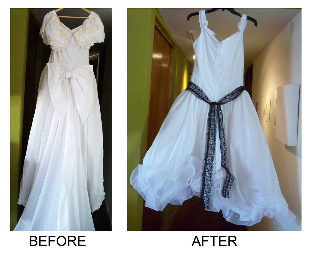 Before after back wedding dress restyle as blogged at for White dress after wedding