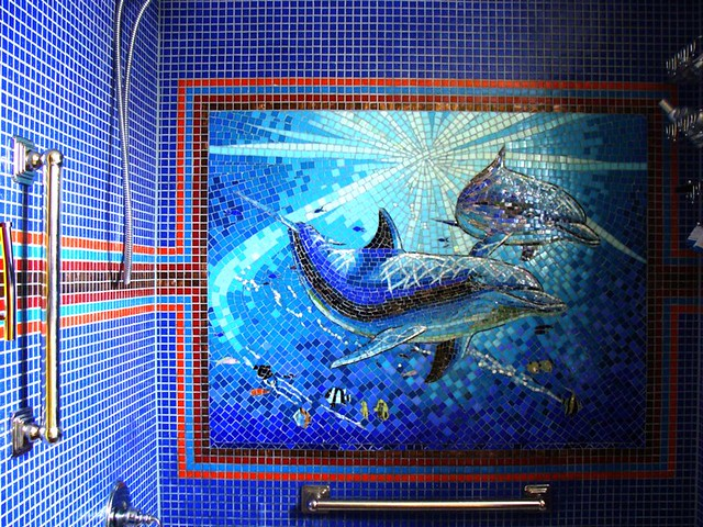 Shower wall dolphin mural made of glass tile by giorbello for Mural z franciszkiem