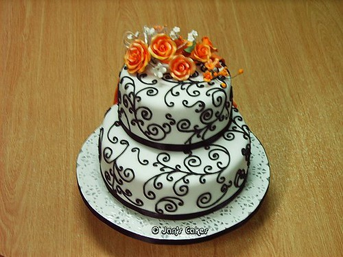 Wedding Cake 2-tier B W n Orange-Front View | by janlim2007