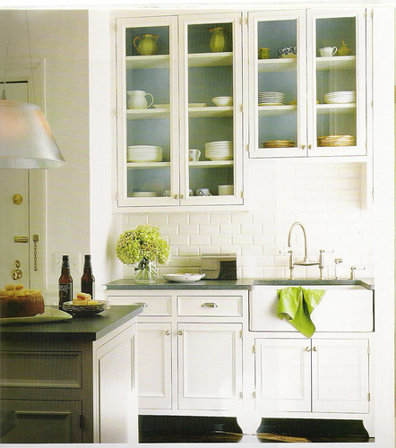 White Kitchen + Blue And Green Accents