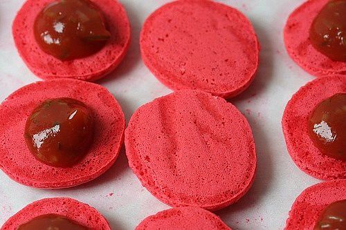 macarons filled with ketchup and cornichons | by David Lebovitz