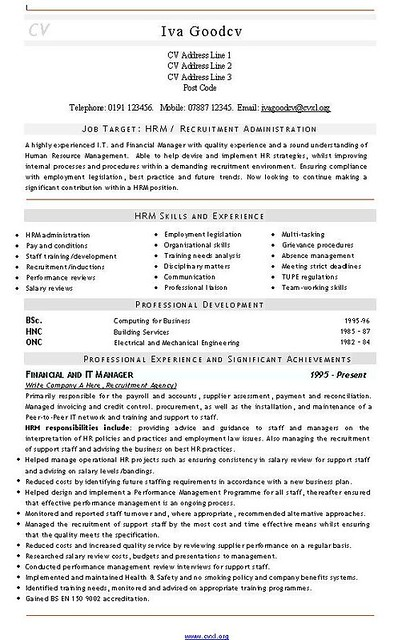 recruitment admin cv and resume template