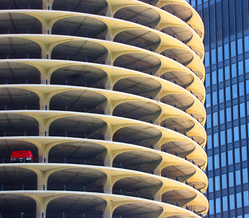 Marina City, Chicago. One-car garage. | by o palsson
