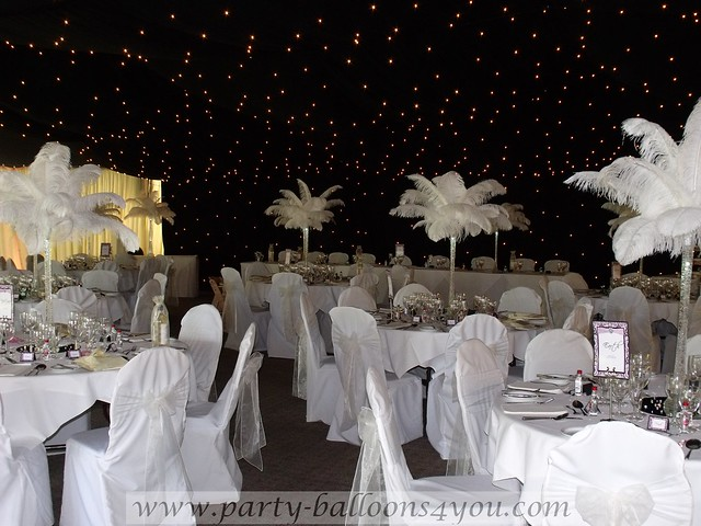 White ostrich feather table decorations flickr photo for All white party decoration ideas