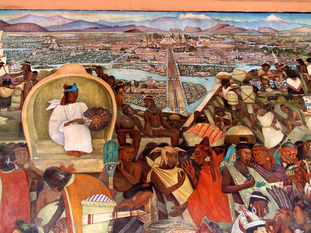 Tenochtitl n this mural is on the north wall of the for Diego rivera tenochtitlan mural