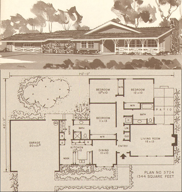 C 1960 Storybook Ranch Plan This Small House Plan Was