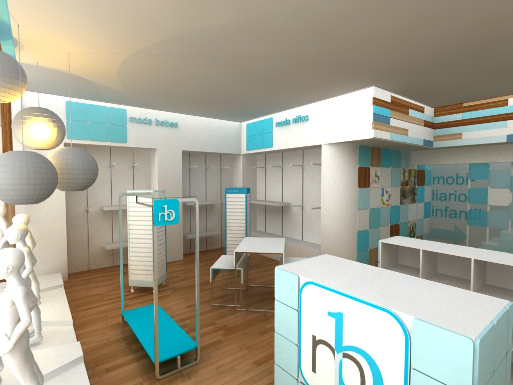 Mobiliario y ambientacion para tienda de bebes cubo3 con for Diseno decoracion espacios