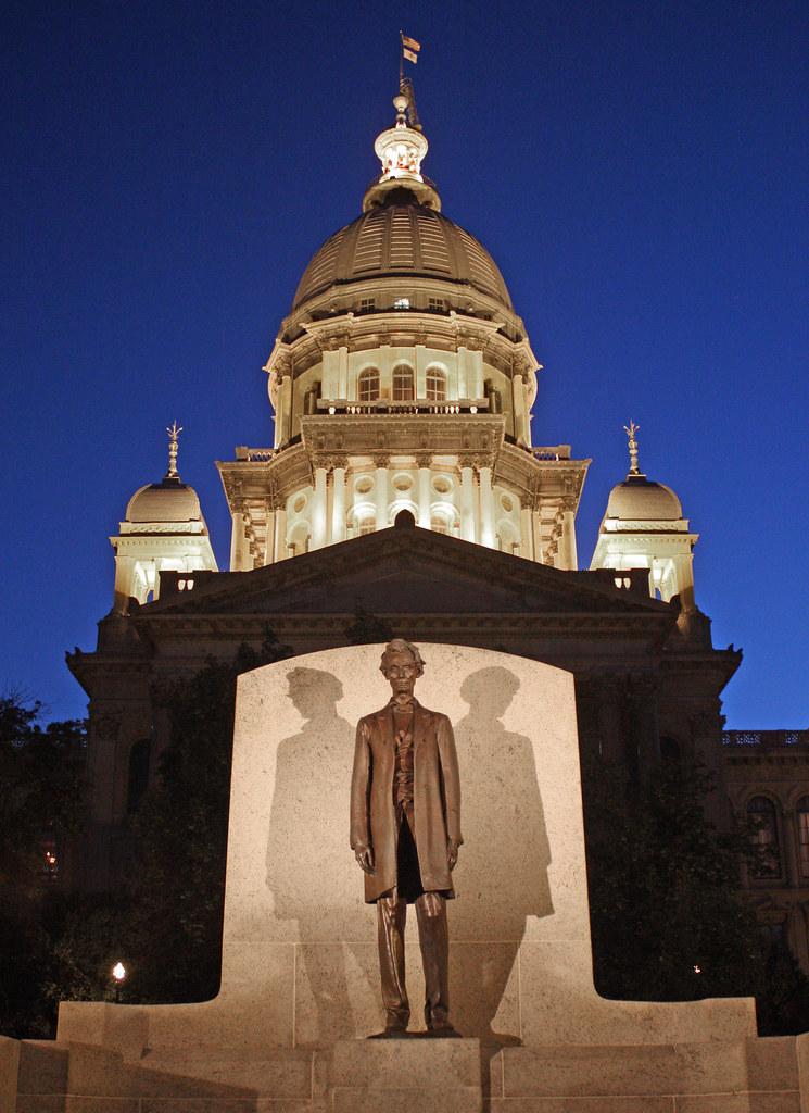 State Capitol Dome And Lincoln Statue Springfield Illino